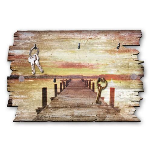 Steg Sonnenuntergang Schlüsselbrett Hakenleiste Landhaus Shabby aus Holz 30x20cm