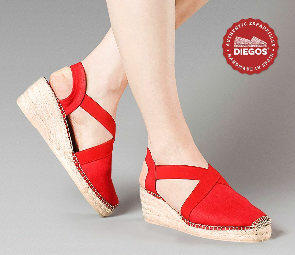 Diegos® Classic high wedge rot Belen espadrilles schuhe hand made in Spain