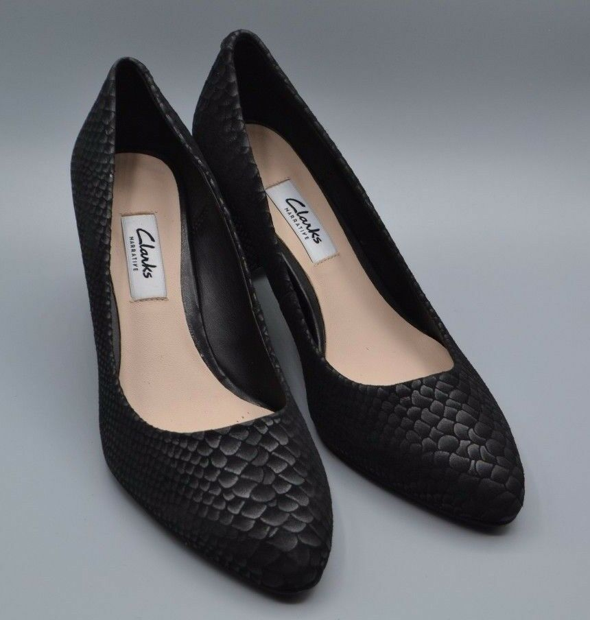 "NEW Clarks ""Blissful Cloud"" Ladies Black Snake Effect Leather Office Shoes 4 - 8"