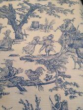 Blue Country French Toile De Jouy Linen Weave Cotton Fat Quarters 46cm X 46cm