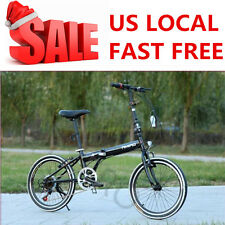 "20"" Black Folding Bike 6 Speed Bicycle Fold Storage School Sports City Comm"