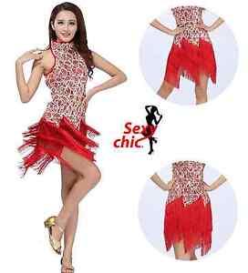 Abito da Salsa Abito da Samba Abito da Ballo Latino da Donna Blu Rosso Nero Costume da Ballo da Donna