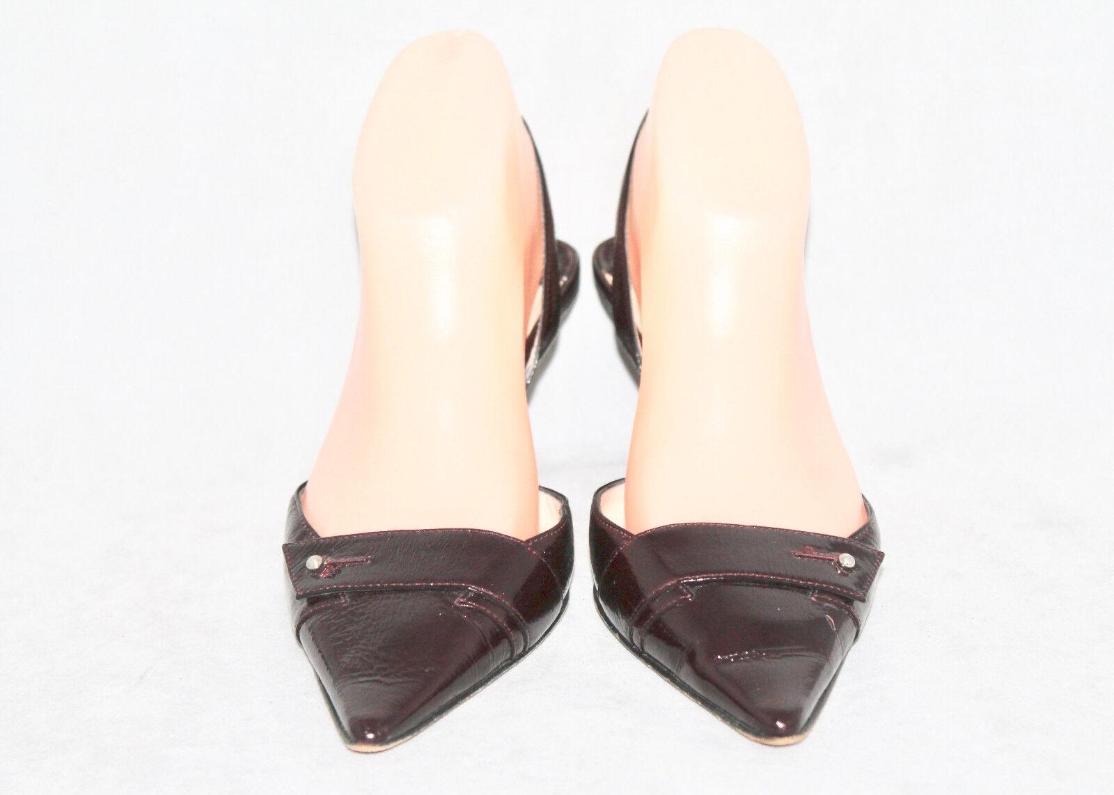 JIMMY CHOO Wo's 36.5 Patent Dark Burgundy Patent 36.5 Leder Pointy Toe Heel Slingbacks c5621d