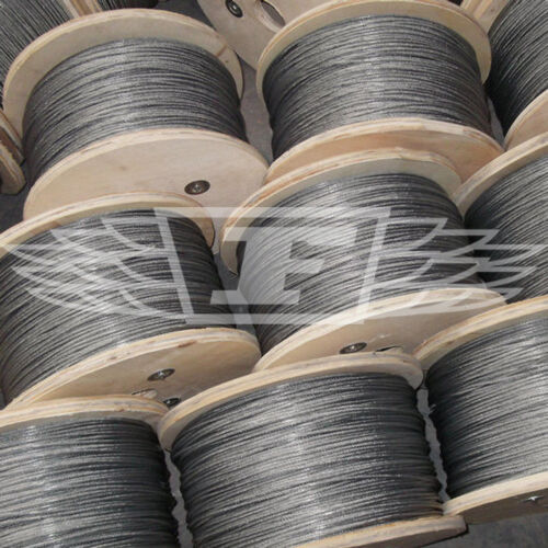50m LENGTHS 7 x 7 GALVANISED STEEL WIRE ROPE METAL CABLE 1.5mm 2mm 3mm 4mm 5mm