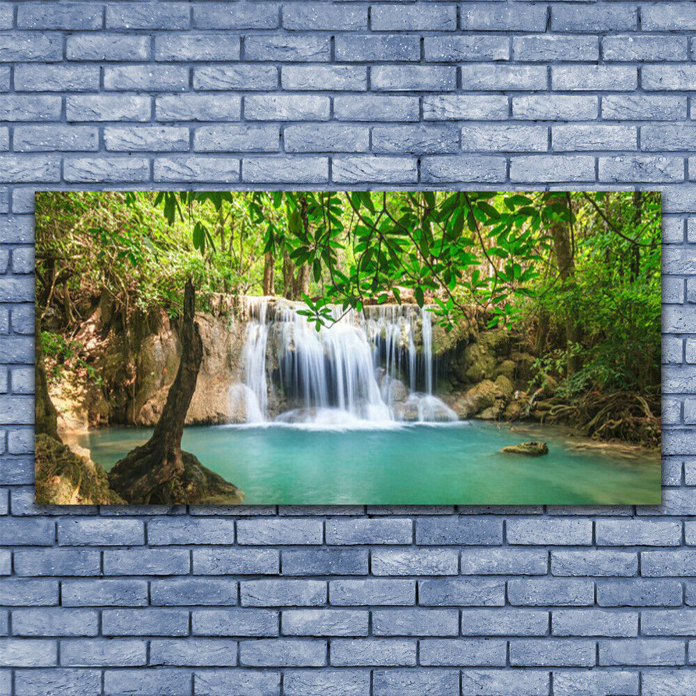 Print on Glass Wall art art art 140x70 Picture Image Waterfall Lake Forest Nature 3a39a5