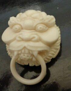 Intricate Chinese Hand Carved Bovine Bone Miniature Lion Head W Ring Scene Ebay