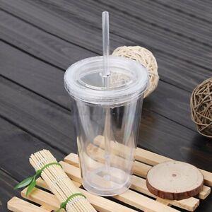 500ml Smoothie Coffee Juice Party Liquid Beaker Lid Plastic Drinks Cup + Straw