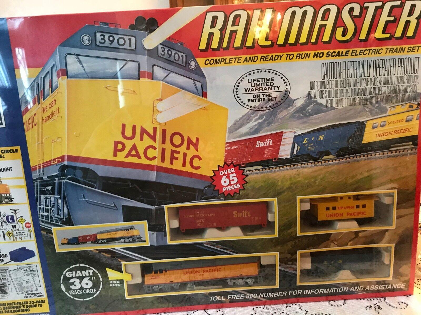"Vintage Union Pacific Railmaster HO Scale Train Set 36"" 65 Pc New"