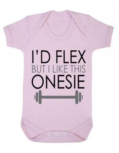 "Baby Bodysuit  /""Id Flex but I like this... Baby playsuit /""  Joke Baby Grow"