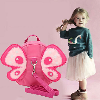 Safety Harness Strap Baby Kid Toddler Walking Backpack Reins Bag Butterfly NEW