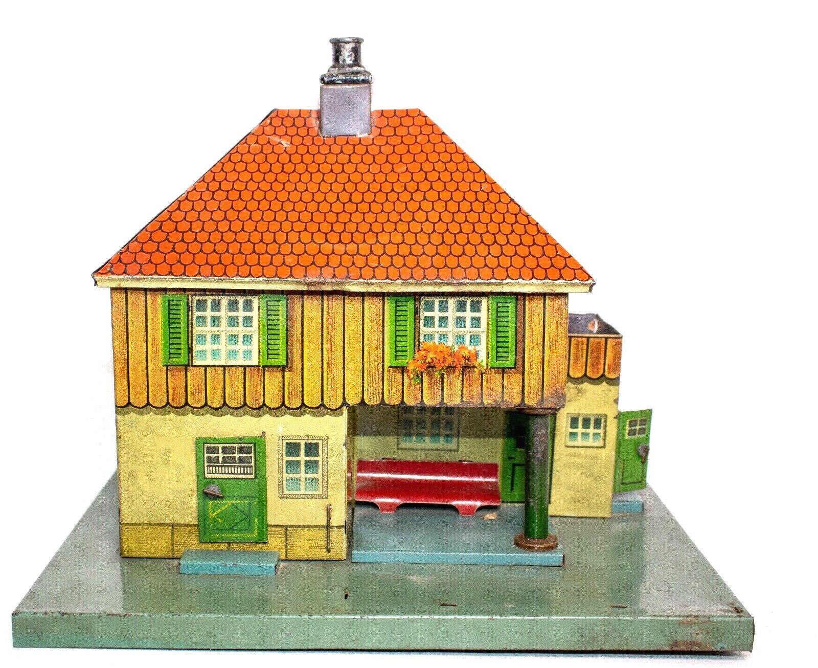 Jahr vor dem Krieg Bing 0-GAUGE Blech Litho 2-STORY Zug Station