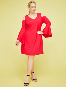 8f5a44e3958 Lane Bryant Cold-Shoulder Bell-Sleeve Fit Flare Dress 14-16-18-22-24 ...