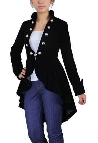 Black / Burgundy Vintage Victorian Gothic Steampunk Velvet Jacket Coat NO 11