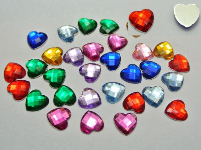 100 Mixed Color Acrylic Faceted Heart Flatback Rhinestone Gems 12X12mm No Hole