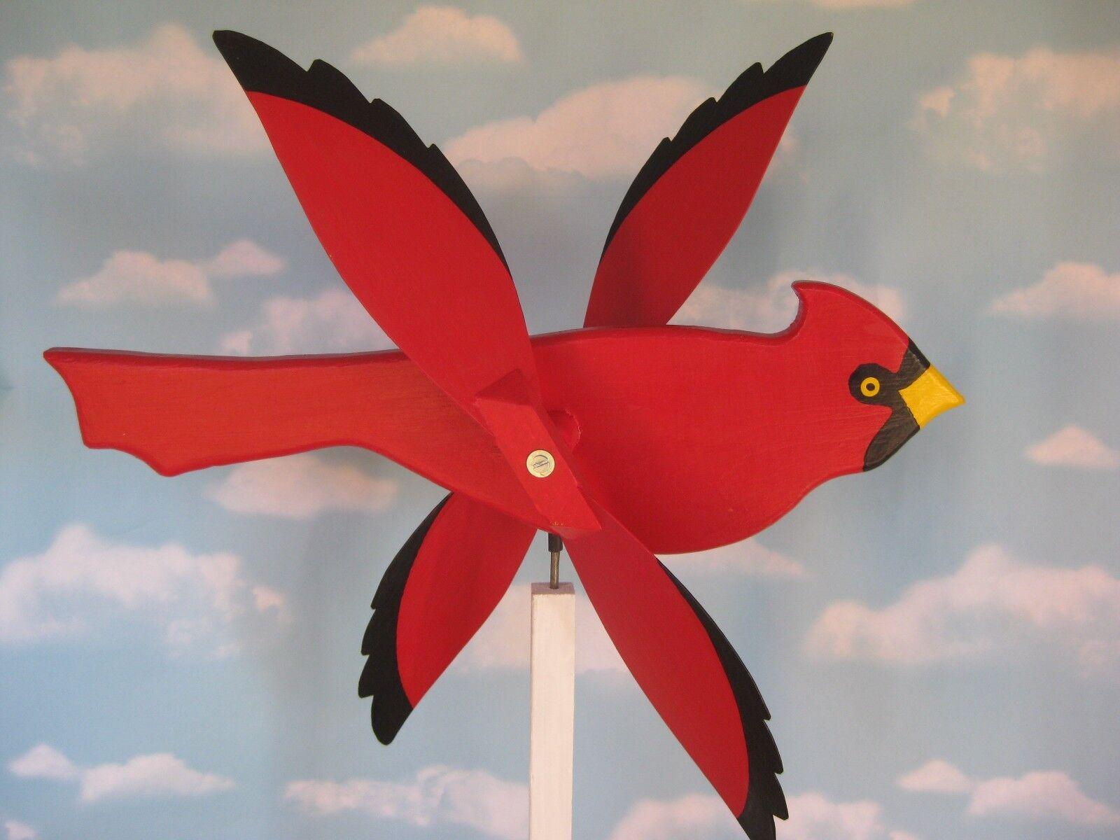 Large Red Cardinal whirligig bird / with mounting post / handmade wood/ Folk Art