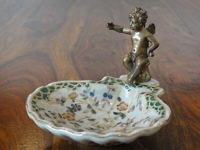 Seifenschale Porzellan Bronze Engel Seifenablage Antik Jugendstil Muschel Floral