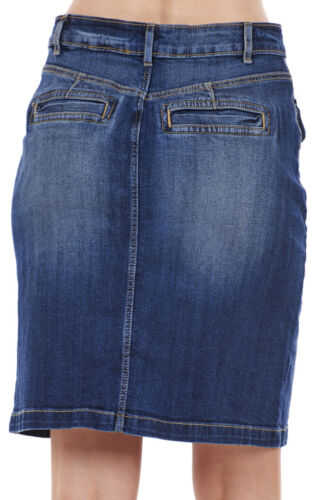 Femmes bouton through denim jupe courte bleu poches en coton extensible