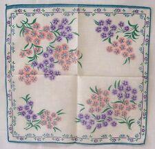 Vintage Womens Hankie Pastel Pink Lavender Flowers Teal Edging