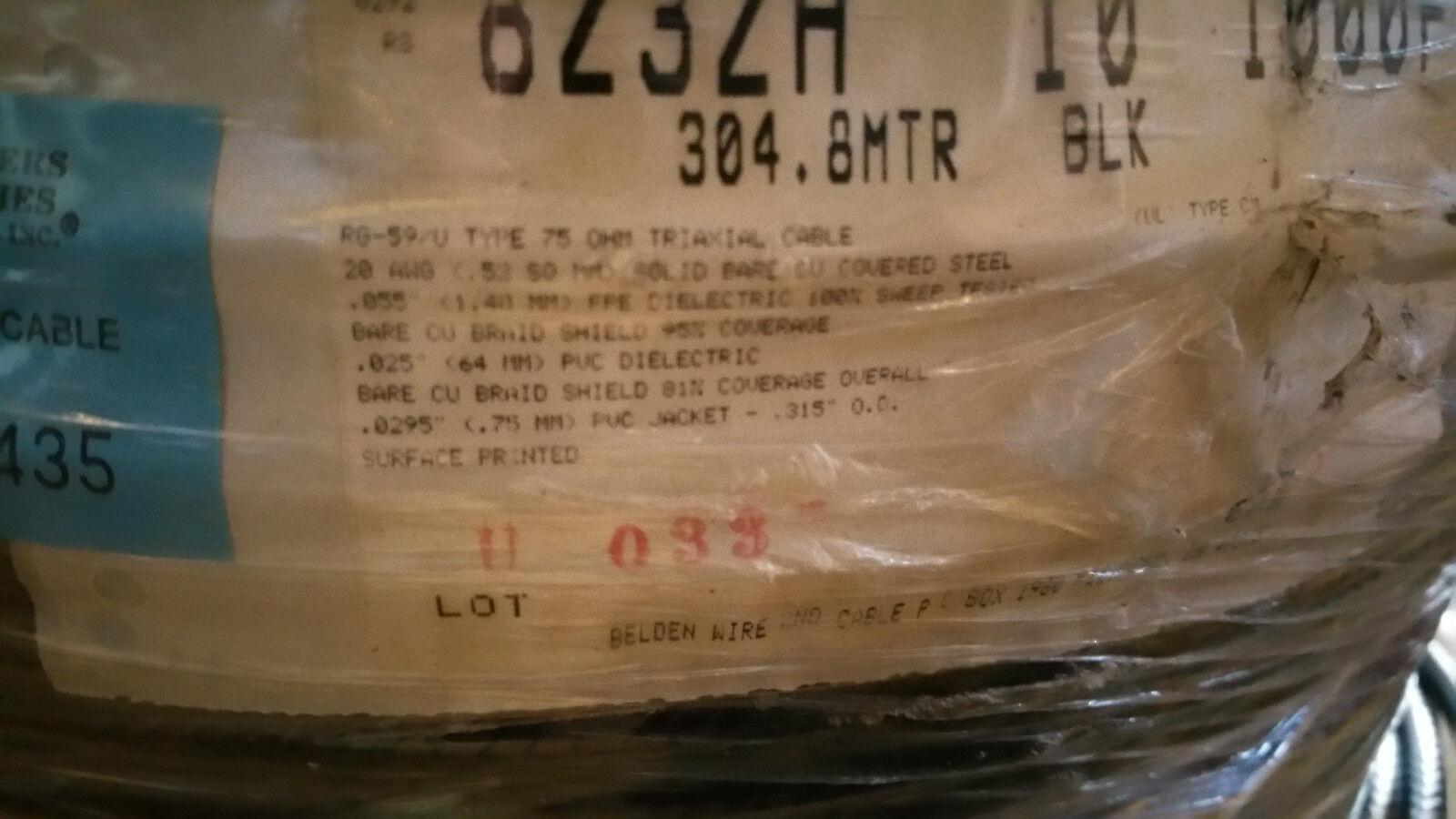 Belden 8232A RG59//U Video Brilliance Triaxial Triax 75Ohm Video Cable Black//50ft