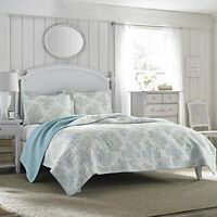Laura Ashley Saltwater Reversible Quilt Set, Full/queen, New, Free Shipping on sale