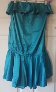 7e7236af3d $120 NWT Rachel Lym Womens Teal Strapless Ruffle Dress Swim Cover-Up ...