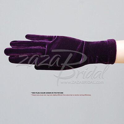 Stretch Velvet Gloves Slip-On Wrist Length / Various Colors
