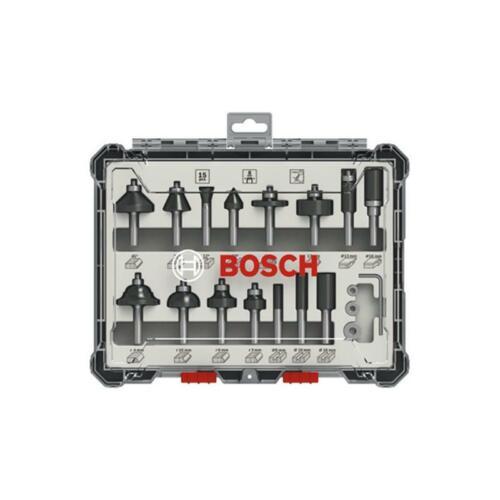 Bosch 15tlg Fräser-Set Fräser Nutfräser Abrundfräser Bündigfräser m 8mm Schaft