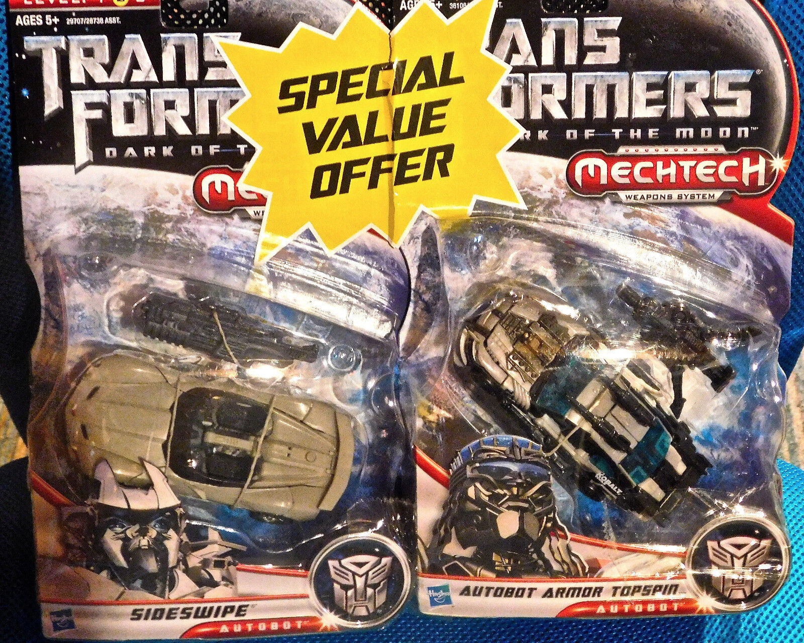Transformers Dark of of of the Moon SIDESWIPE & TOPSPIN LOT SEALED NEW Deluxe Figure 100e71