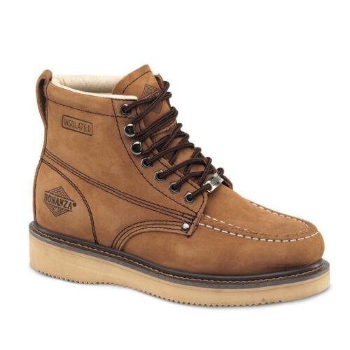 "Mens Brown Nubuck 6/"" Mocc Toe Leather WP Work Boots BONANZA 630 Size 5-13 D, M"
