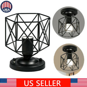 Industrial-Vintage-Iron-Cage-Ceiling-Pendant-Light-Holder-Lamp-Shade-Fixture-E26