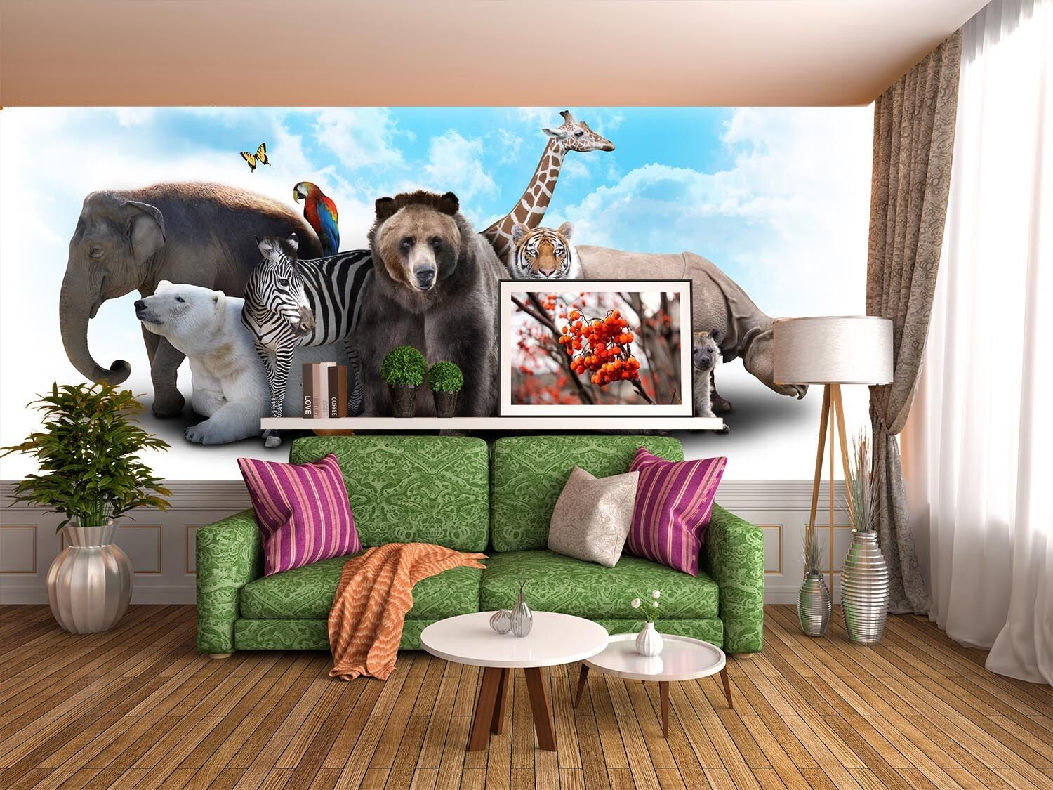 3D Animal World Paper Wall Print Wall Decal Wall Deco Indoor Murals