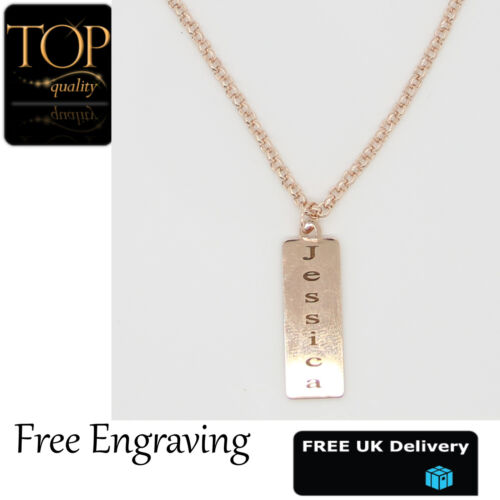 Personalised Name Love Heart Necklace Silver Gold Rose Plated Gift Jewellery UK