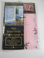 """Vintage Pink Floral Vinyl Shower and Window Curtain Set Better Home 70"""" x 72"""""""