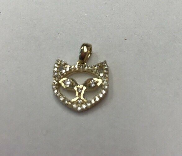 "10K REAL YELLOW gold With CZ Cat Head PENDANT 1.2gr  &  1 2"" Long"
