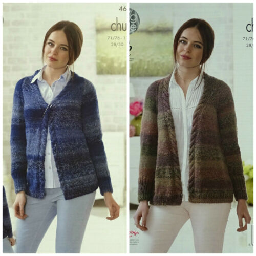 KNITTING PATTERN Ladies Long Sleeve V-Neck//V-Front Cable Cardigan Chunky 4631