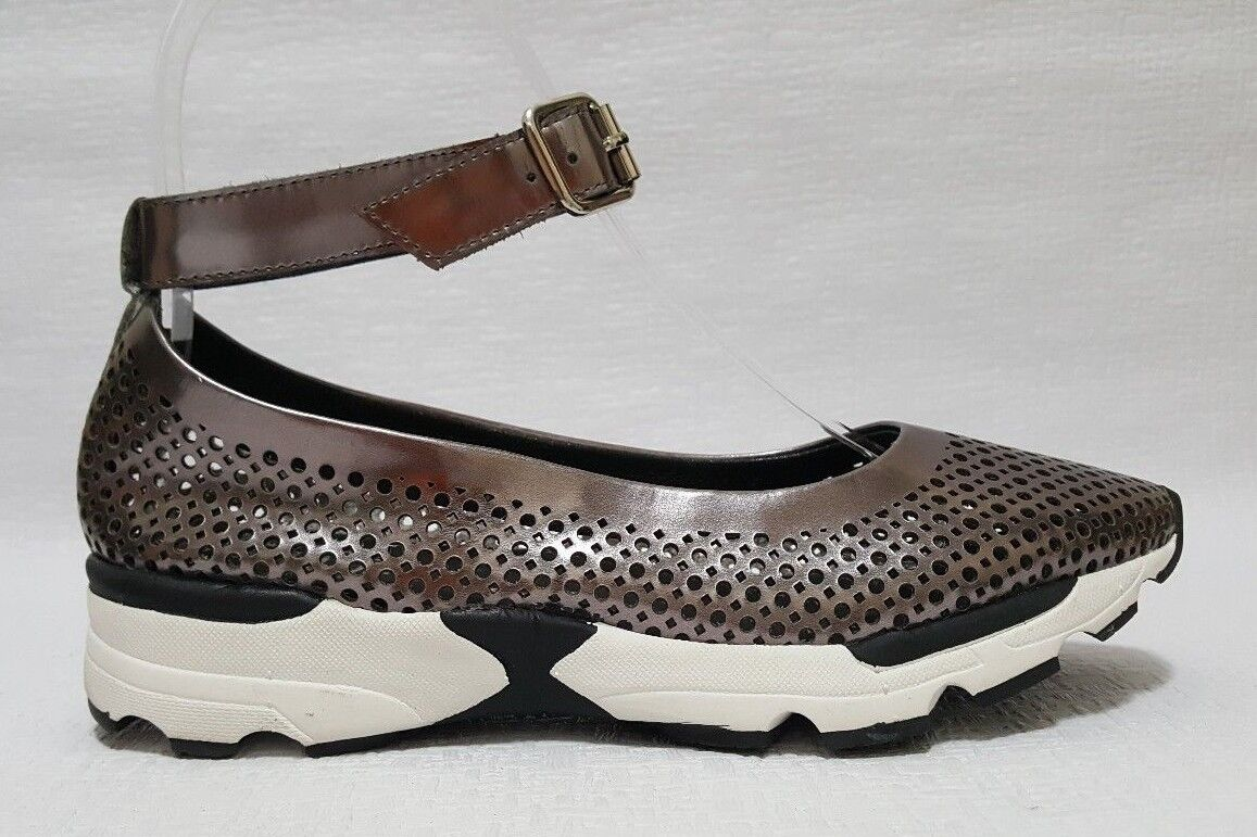 Jeffrey Campbell Skiprope Damenschuhe Leder Ankle Strap Sneaker Flats Schuhes Sz 6 M