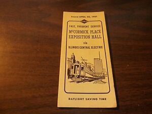 APRIL-1961-ILLINOIS-CENTRAL-ELECTRIC-McCORMICK-PLACE-EXPOSITION-HALL-TIMETABLE