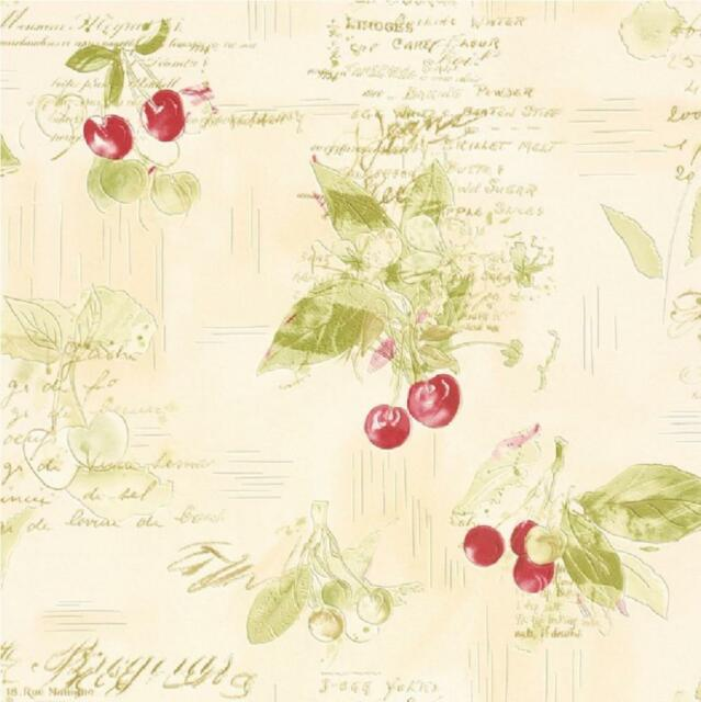 NEW LUXURY RASCH CHERRIES RECIPES BAKING TEXTURED VINYL KITCHEN WALLPAPER ROLL
