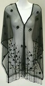 Women-Sheer-Beaded-Sequin-with-Fringe-Fashionable-Poncho-Cape-black
