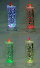 1X COLOUR CHANGING LED CANDLE FLICKERING SWIRLING GLITTER FLAMELESS LIGHT
