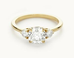 1.60 Ct Round Cut Real Moissanite Anniversary Ring 14K Solid Yellow Gold Size 7
