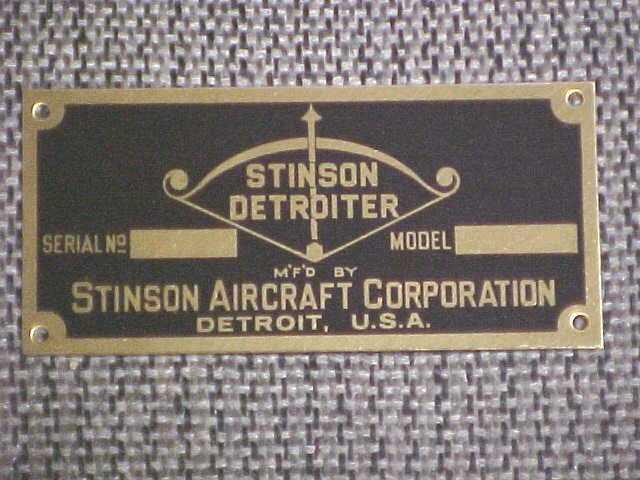 Stinson Flugzeug Detroiter Daten Platte Platte Platte 1930 40s Säure Geätzte Messing 20b67e