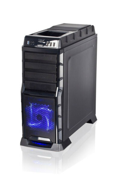 Xion Black ATX Gaming PC Hot-Swap SATA HD Dock LED Fan Mid Tower Computer Case