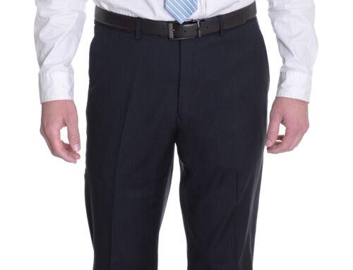 Alfani RED Slim Fit Navy Blue Striped 100/% Wool Flat Front Dress Pants 40x30