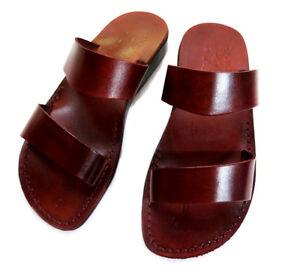 89a60141f901ac Image is loading Jerusalem-Biblical-Sandals-Brown-Leather-Unisex-Strap-Flip-