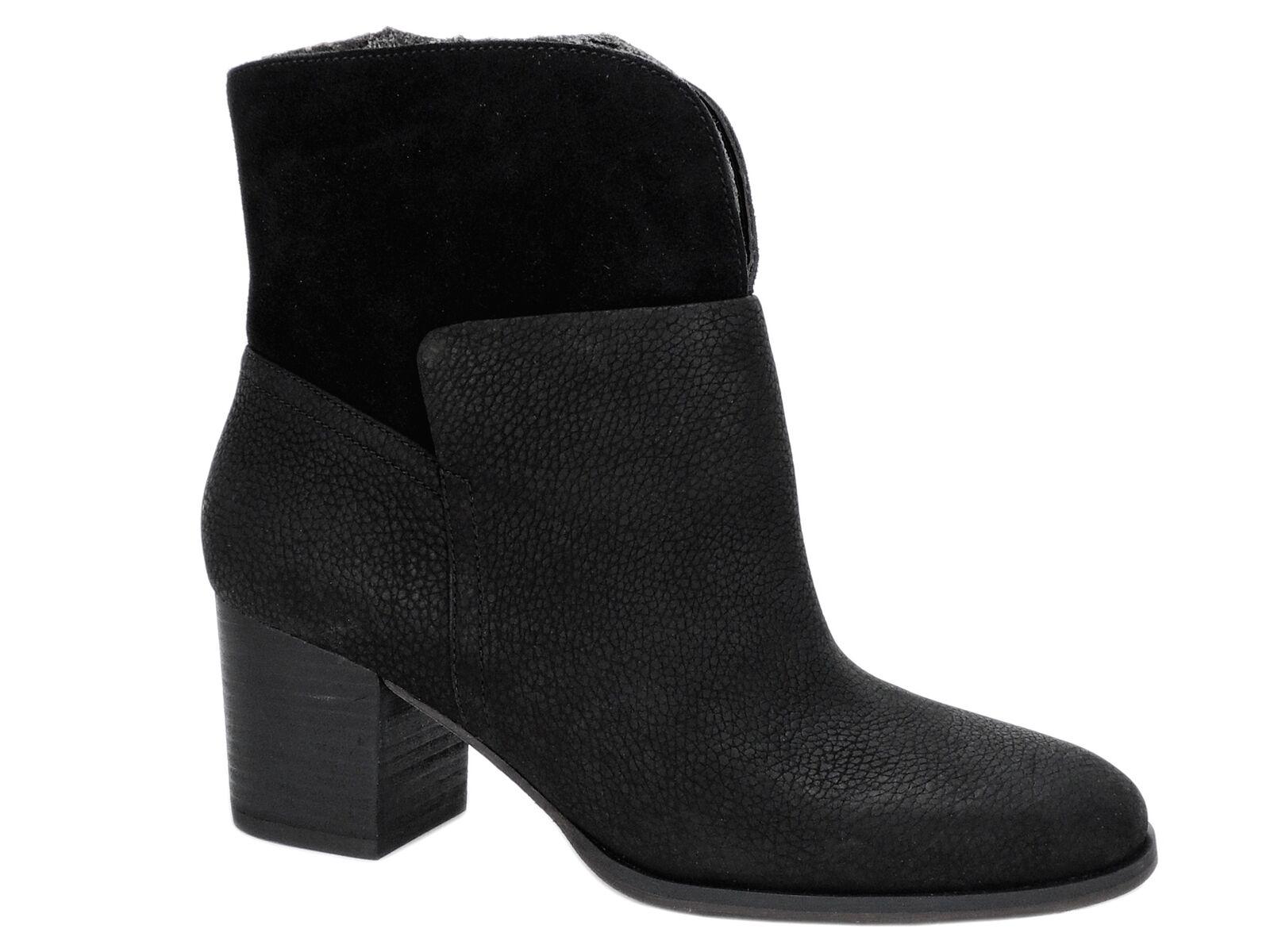 Nine West Women's Dale Block-Heel Booties Black Leather Size 9.5 M