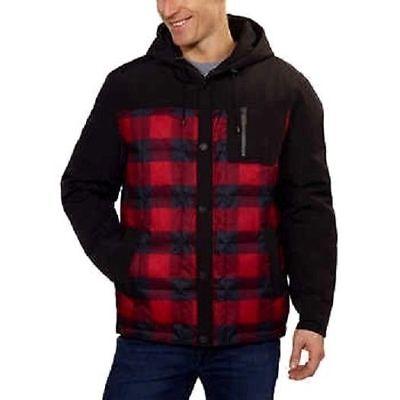 Pendleton Men's Red & Black Plaid 650 Fill Down Jacket Coat with Hood