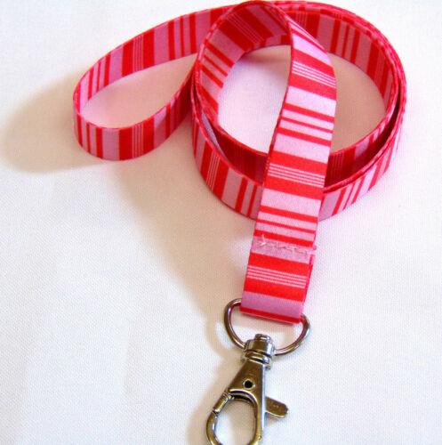 Bar Code Stripe neck strap lanyard for ID keys etc Navy or Red//Pink Free UK Post