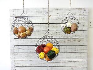 Image Is Loading Hanging Wire Basket Set Fruit Basket Handmade Farmhouse