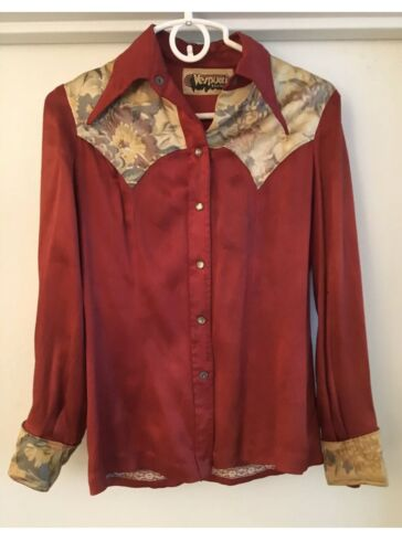 Vintage 70's VESPUCCI Womans Cowboy Red Satin Shir